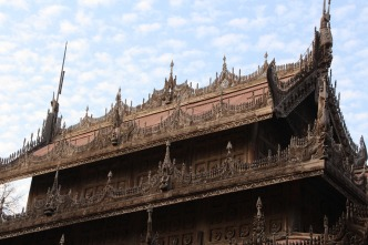 Golden Palace Monastery in Mandalay. Was part of the royal palace complex but was moved and is the only part of the complex to survive WWII. Made of teak.