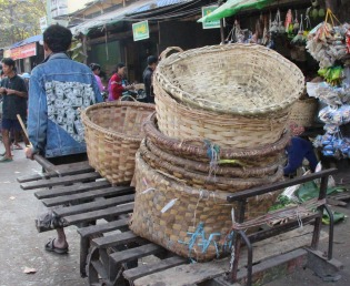 Bringing baskets to the market.