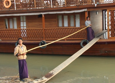 Amara II -- our gang plank with hand rail.