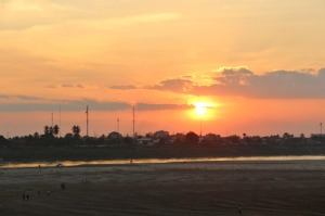 Sunset on the Mekong River in Vientiane