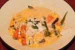 Black cod with vegetables in Thai-inspired corn chowder