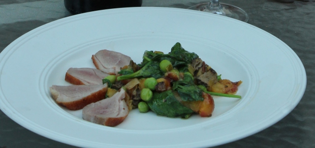 Wilted morel, pea, and cherry salad with duck breast