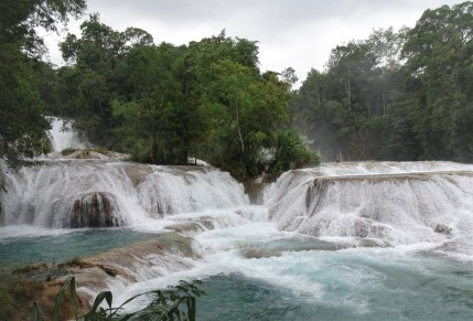Waterfall near Palenque called Agua Azuul
